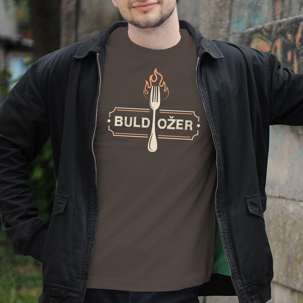 Pánske tričko s potlačou buldožer