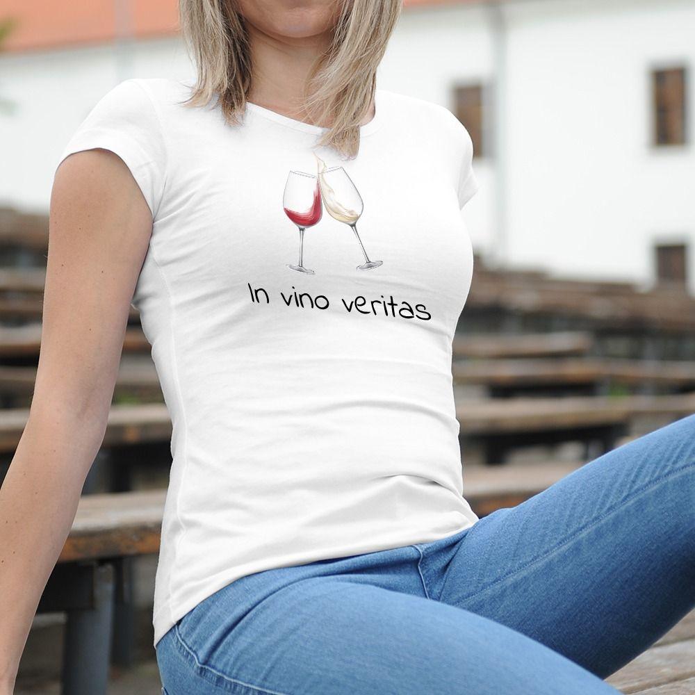 Dámske tričko s potlačou In vino veritas