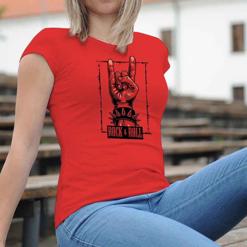 Dámske tričko s potlačou Rock and Roll