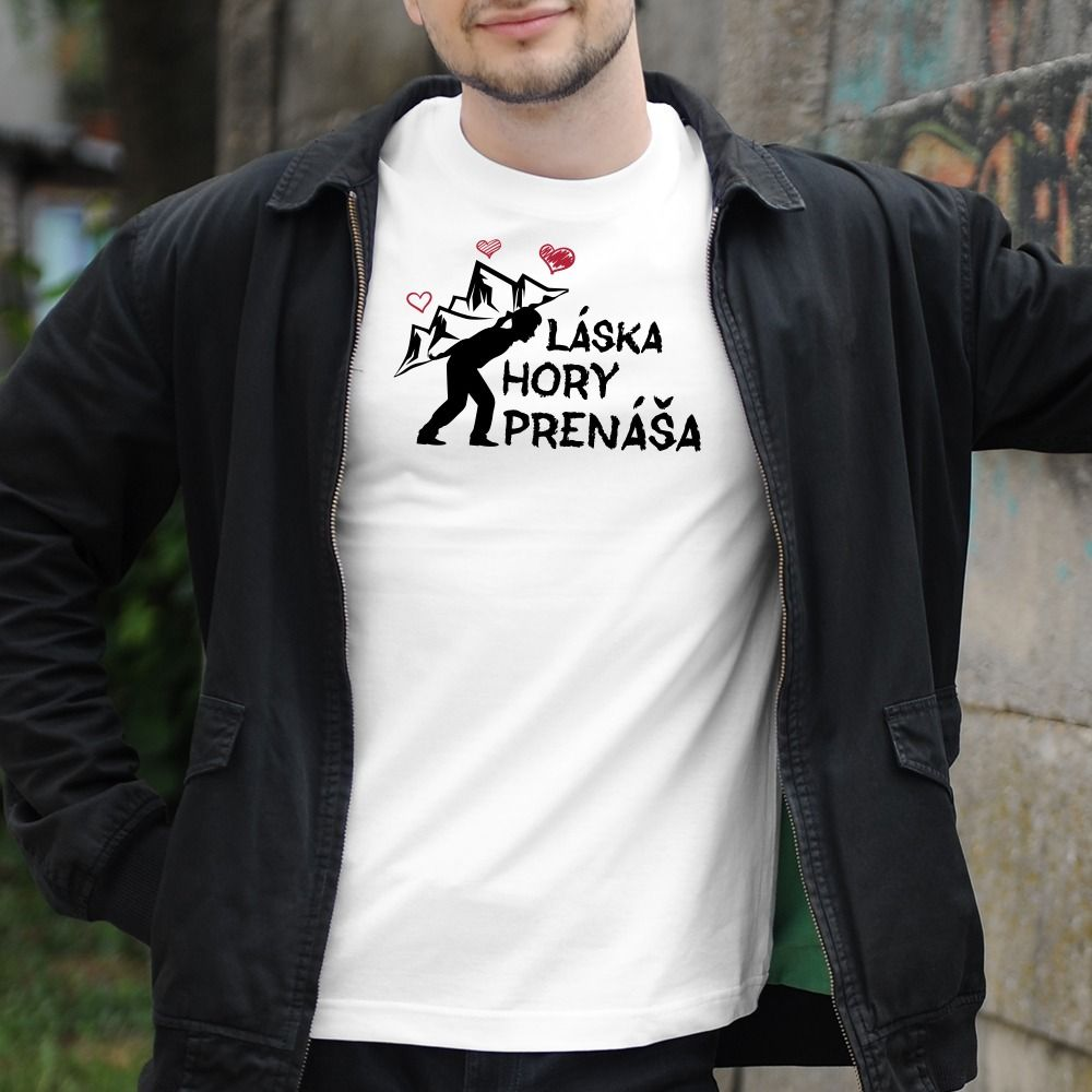 Pánske tričko s potlačou Láska hory prenáša