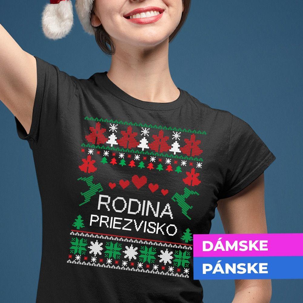 Rodinné tričko s vianočným motívom